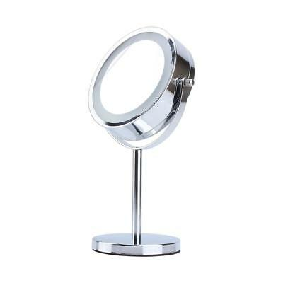 LED Light Cosmetic Makeup Mirror, Double-Sided Adjustable 5x Magnifying Vanity M