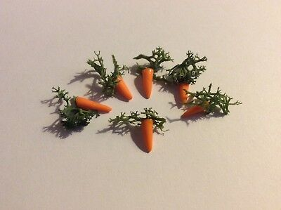 1:12 Scale Carrots x 6 Handmade  Dolls House Miniature Food Vegetable Kitchen