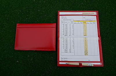 Traditional Red leather golf scorecard holder - Original and Best