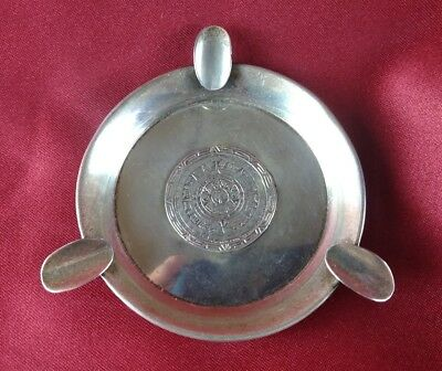 Vintage 1960's Mexican River Sterling Silver Ashtray W/ Mayan / Aztec Calendar