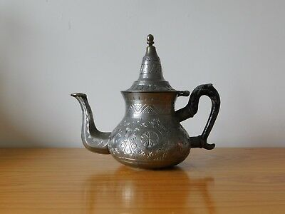 c.19th - Antique Islamic Persian Middle East Pewter (?) Coffee Tea Pot