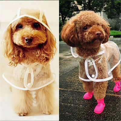 Pets Dog Puppy PVC Waterproof Clear Transparent Rain Coat Jacket Hooded Clothes
