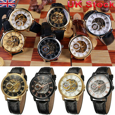 Men's Skeleton Gold Steel Wristwatch Luxury Automatic Mechanical Watch Business