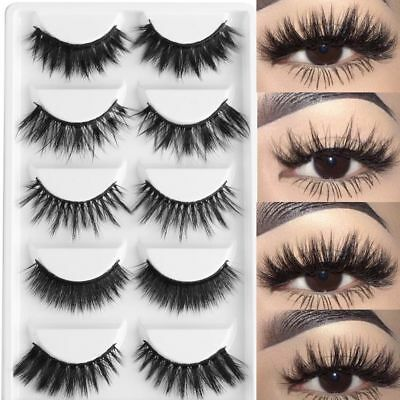Faux Cils 3D Naturel Extension Fibre Volumineux Cil 5 paires