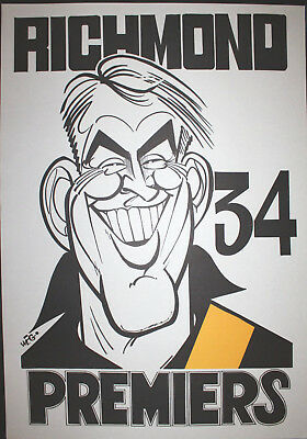 1934 Richmond Premiers Weg Poster Tiger Jack Titus Premiership Grand Final