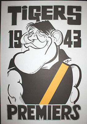 1943 Richmond Premiers Weg poster Jack Dyer Tigers Premiership Grand Final
