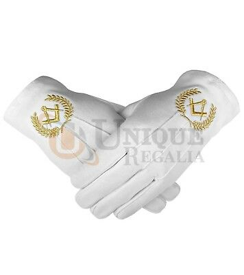 Masonic Cotton Glove with Golden Embroidery Square and Compass