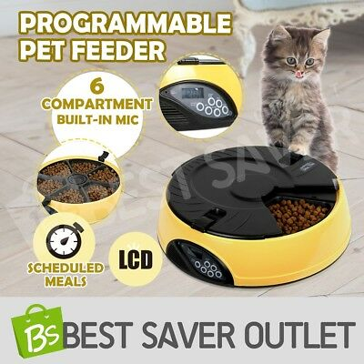 AUTO Automatic Program Digital LCD Pet Dog Feeder Dispenser Food Bowl Cat 6 Meal