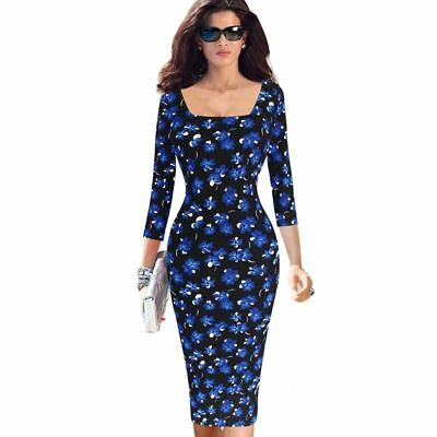 Women Floral Flower Printed Square Neck Casual Slim Fitted Pencil Dress