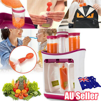 Baby Feeding Food Squeeze Station Toddler Infant Fruit Maker Dispenser Storage R