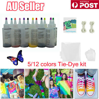 5/ 12 Colour Bottle Tie Dye Kit + 40 Rubber Band + 4 Pairs Vinyl Gloves DIY Kit