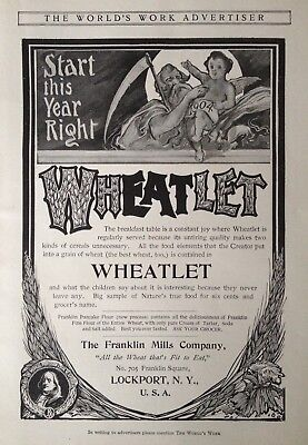 1904 Ad(H20)~Franklin Mills Co. Lockport, Ny. Wheatlet Breakfast Cereal