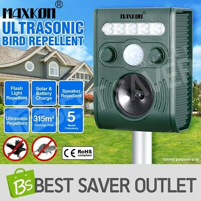 Ultrasonic Pest Repellent Solar Bird & animal Repeller w/ Loudspeaker Alarm