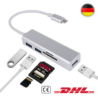 5in1 Type-C USB-C HUB Adapter 3 USB 3.0 Port charger SD/TF Kartenleser MacBook