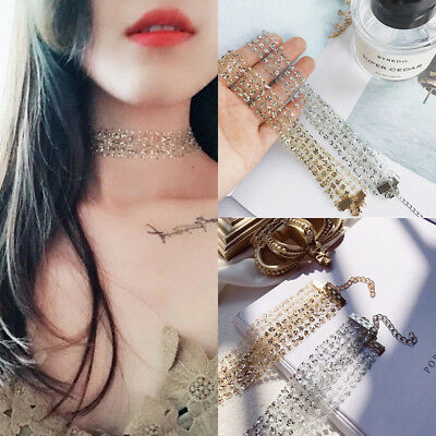 Fashion Women Gothic Lace Crystal Charms Clavicle Choker Necklace For Women New