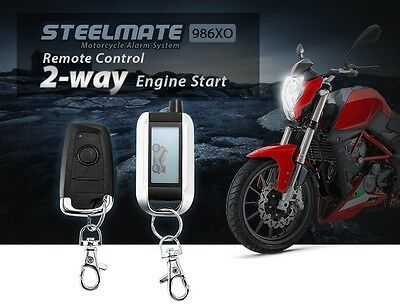 Motorcycle Security Alarm System 2-Way LCD Remote Engine Start Guard Anti-theft