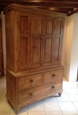 Antique Waxed Victorian Pine Cupboard Dresser Linen Press, Drawers FREE DELIVERY