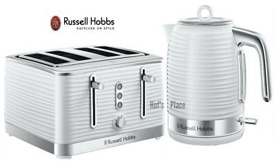White Kettle and Toaster Set Russell Hobbs Jug Kettle & 4 Slice Toaster - New