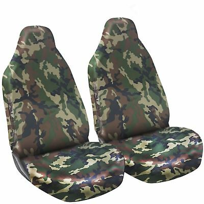Green DPM Camouflage Camo Waterproof Car / Van Front Seat Covers Heavy Duty