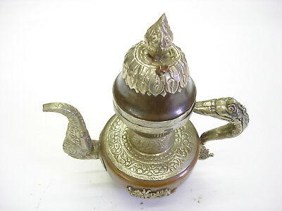 Old Vintage Persian Copper Teapot Decorative Middle Eastern Love Of Labor LOOK