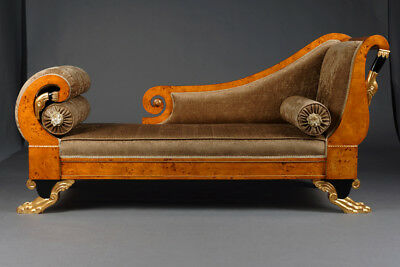 Empire Schwanen Chaiselonge Chaise Longue im Antiken Stil