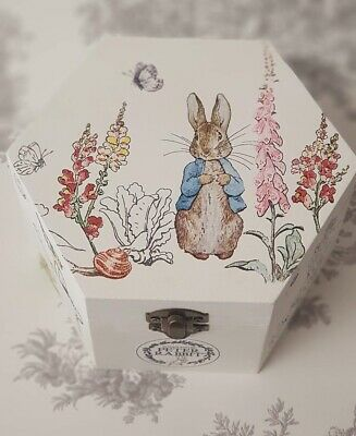 Large Curve Chest Wooden Shabby Chic Beatrix Potter Peter Rabbit Keepsake Box ❤❤