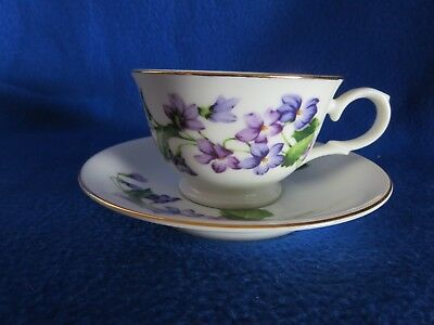 AVON February Blossom  Violet of the Month Series bone China Tea Cup & Saucer