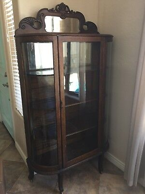 Antique oak china cabinet Bow Glass Sides