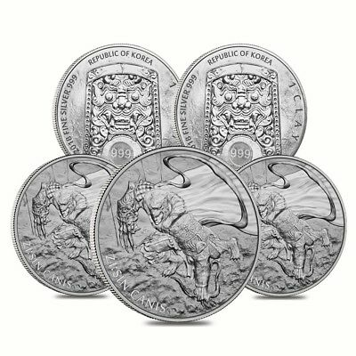 Lot of 5 - 2018 1 oz South Korea Silver ZI:SIN Canis Medal BU