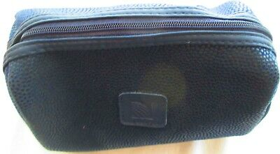 CONTINENTAL AIRLINES AMENITY empty BAG CASE 6X4X3 NAVY BLUE 3 interior pockets