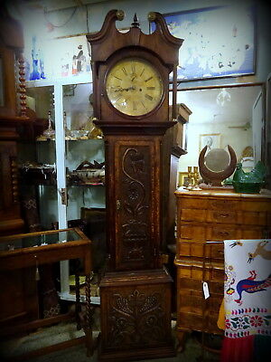 19th.C.OAK CASED 8-DAY LONG CASE CLOCK WITH CARVED CASE