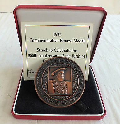 1991 ROYAL MINT 63mm HENRY VIII TONED BRONZE MEDAL - boxed/coa