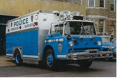 New York City Police Dept Emergency Service Truck 6 4X6 Color Photo ~ Ford C