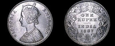 1887 Indian 1 Rupee World Silver Coin - British India
