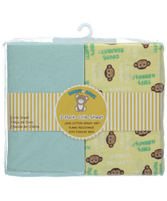 Honey Baby Monkey Toddler Bed or Crib Sheets 2-Pack (100% Cotton)