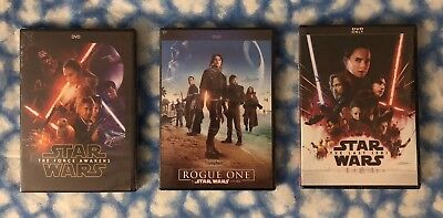 Star Wars: The Force Awakens, Rogue One, & The Last Jedi 3-DVD Set - FREE SHIP
