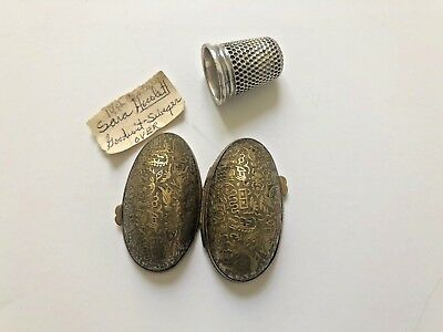 Embossed Brass Metal Egg Shape Sewing Thimble Case Thimble Provenance Egyptian
