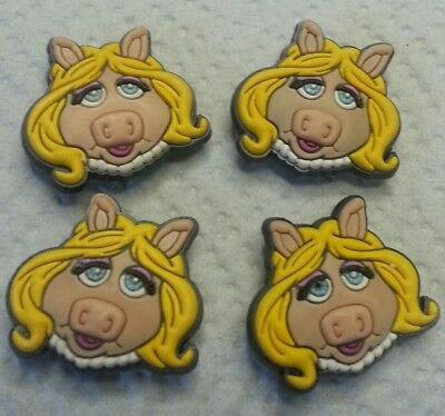 4 Muppets MISS PIGGY  4pc SHOE CHARMS LOT FOR CROC SHOES and JIBBITZ BRACELETS