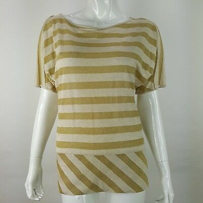 Pink Twill WOmens Medium Metallic Gold Beige Stripe Batwing Short Sleeve Top NWT