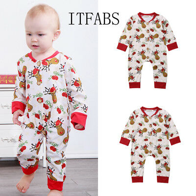 Newborn Infant Baby Kid Boy Girl XMAS Clothes Romper Pajama Jumpsuit Outfits US