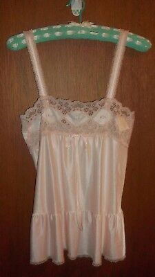 "MINT - Gorgeous ""diamond cut"" Vintage pretty pink nylon camisole - SZ XS 6 to 8"