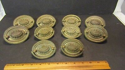 antique vintage oval shaped set of 10 brass pulls for dresser or bureau w screws