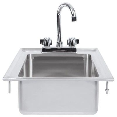 "10"" x 14"" x 5"" 16-Gauge Stainless Steel One Compartment Drop-In Sink w Faucet"