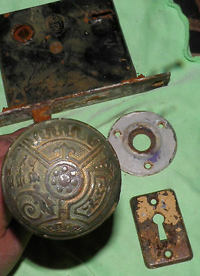 Antique Eastlake Brass Door Knobs Orbin Hardware Locksets Victorian BIN Save $$