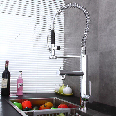 Brushed Nickel Spring Kitchen Pre Rinse Faucet Commercial Pull Down Sprayer Tap