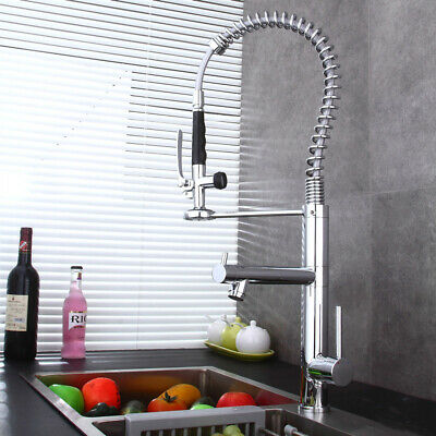 Polished Chrome Spring Kitchen Pre Rinse Faucet Commercial Pull Down Sprayer Tap