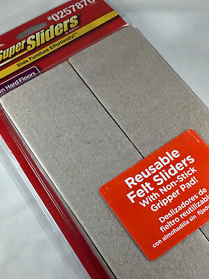 SuperSliders Reusable Furniture Movers for Hardwood Floors 2-1/2 x 9 in 4Pk