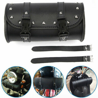 Motorcycle Front Fork Tool Bag Pouch Luggage SaddleBag Black Leather For Harley