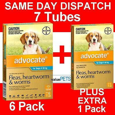 Advocate 6 Pack with Extra 1 Pack for Dogs 4-10kg *Lowest Price per Tube*