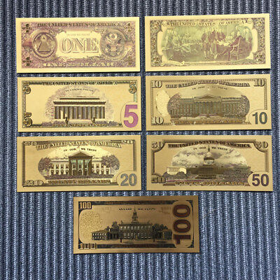 7Pc//Set Euro Banknote Gold Foil Paper Money Crafts Collection Bank Note/'CurrenYH